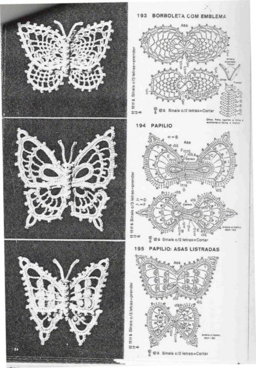 Бабочка крючком схема и описание ирландское кружево
