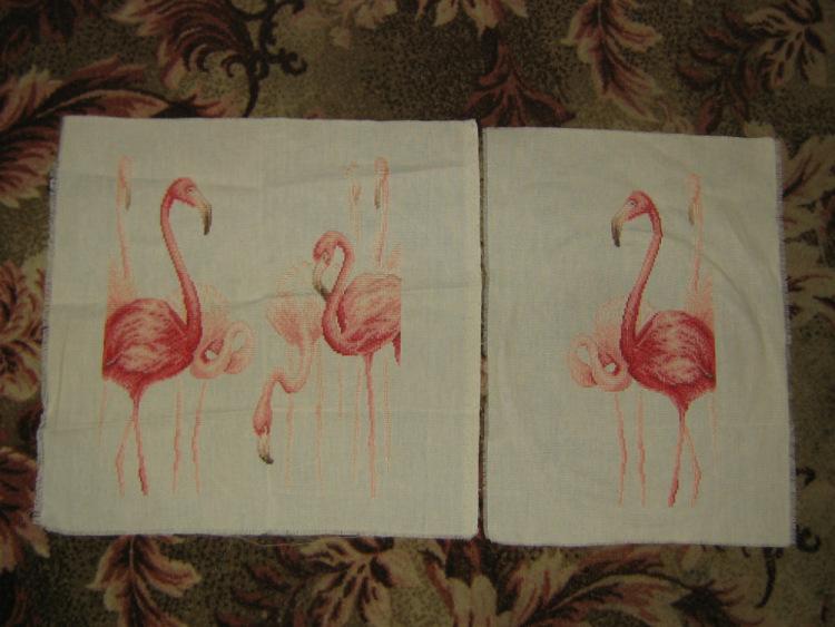 Вышивка фламинго гладью 44