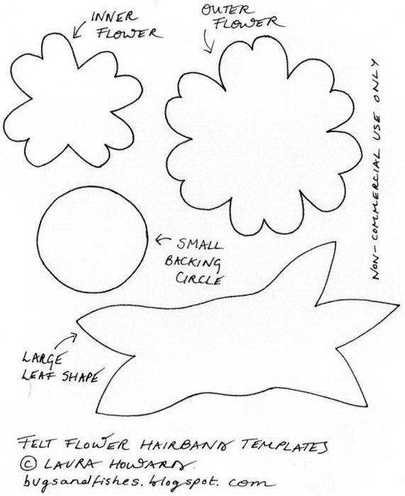 Цветы из фетра выкройки схемы