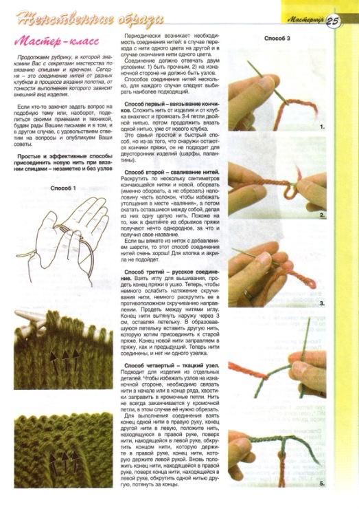 Как присоединить нитку к вязанию на спицах