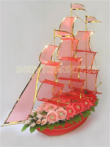 Сделать корабль из конфет пошаговое фото