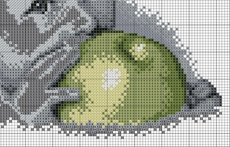 ребенок с яблоком вышивка схема