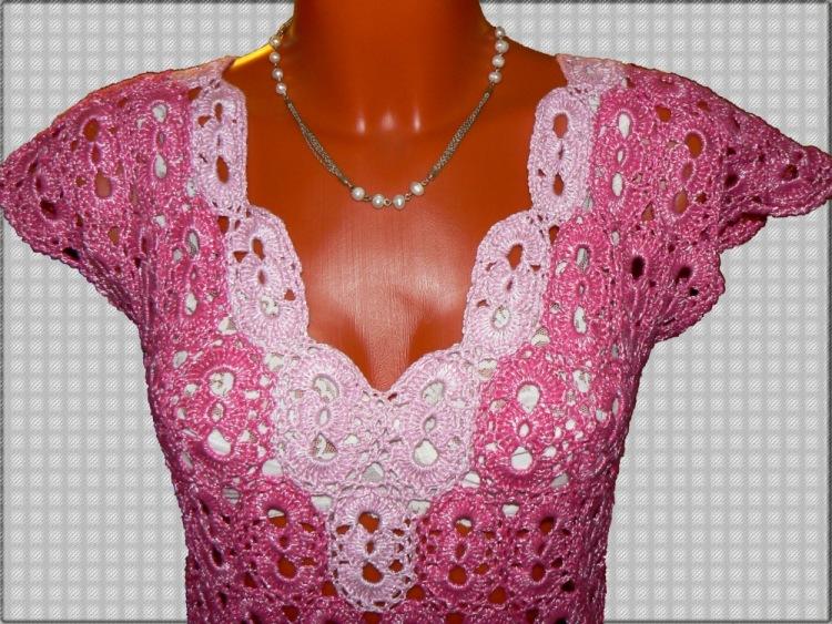 Вязание крючком платья с тканью 504