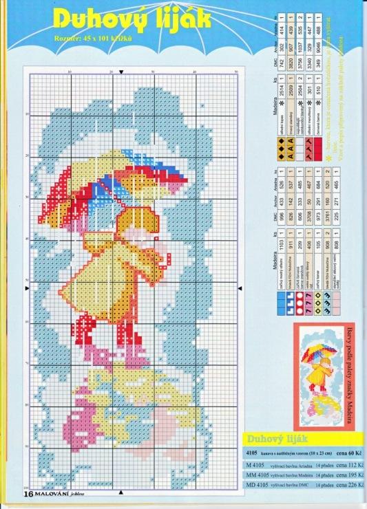 Вышивка крестом зонтик с цветами схемы 42