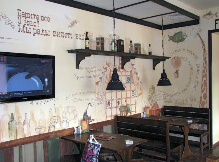 Роспись на стене кафе