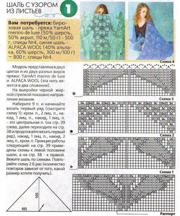 Схемы узоров шалей на спицах