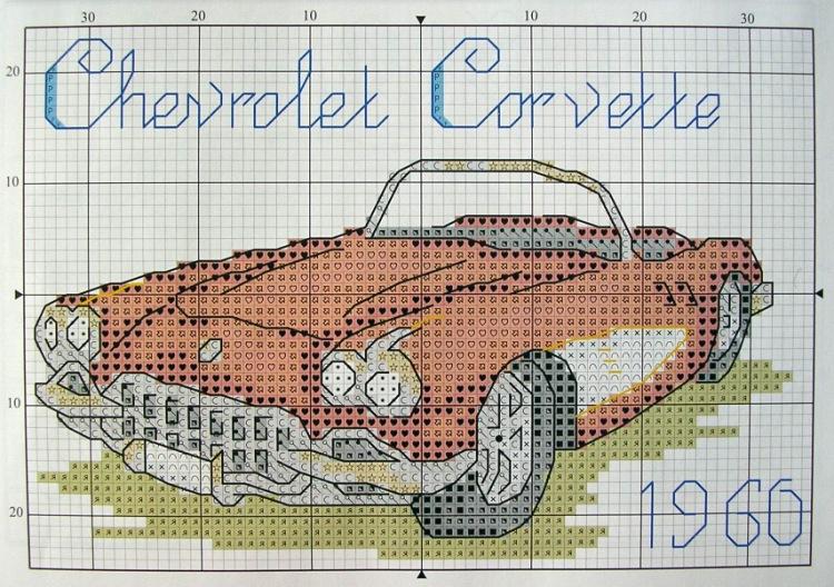 Автомобиль схема вышивки крестом 45