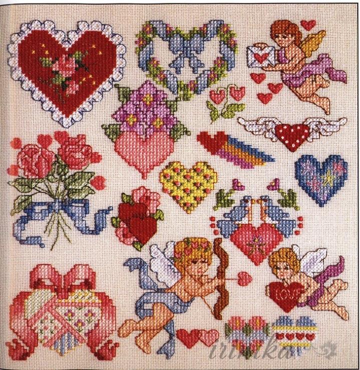 Вышивка валентинки крестом 27