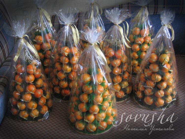 Как сделать елку из мандаринов мастер класс