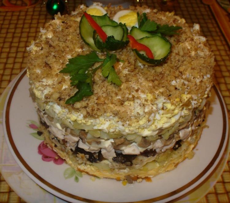 рецепты салатов с грецкими орехами с фото
