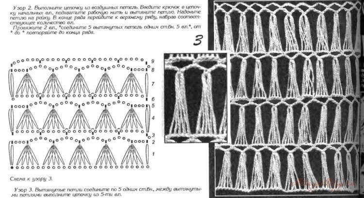 Схемы вязания крючком из вытянутых петель 334