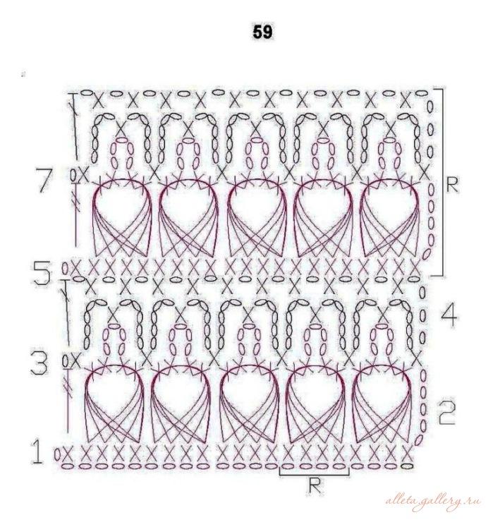 Схемы вязания крючком из вытянутых петель 128