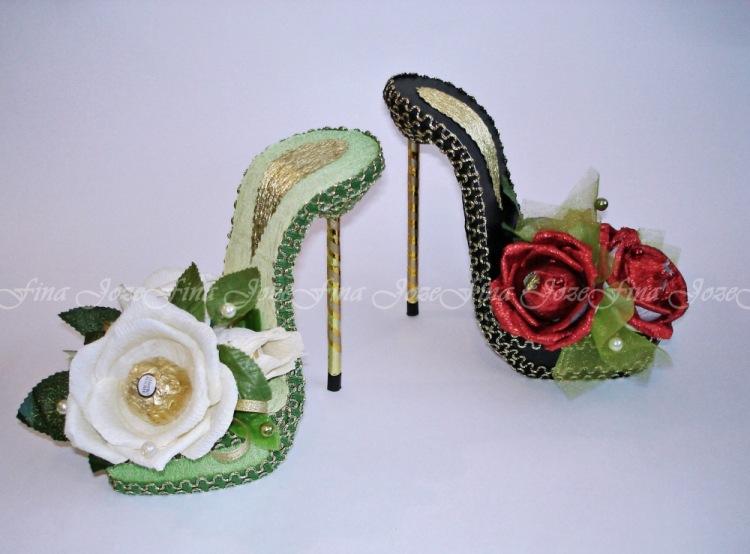 Поделка туфелька из конфет новогодние