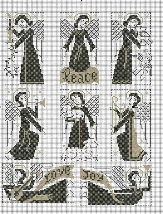 Схемы вышивки крестом миниатюры монохром 15