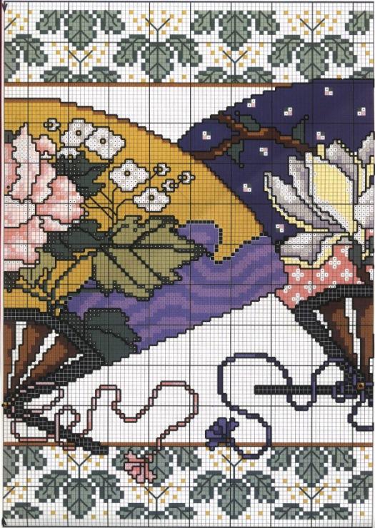 Схема вышивки крестом веера