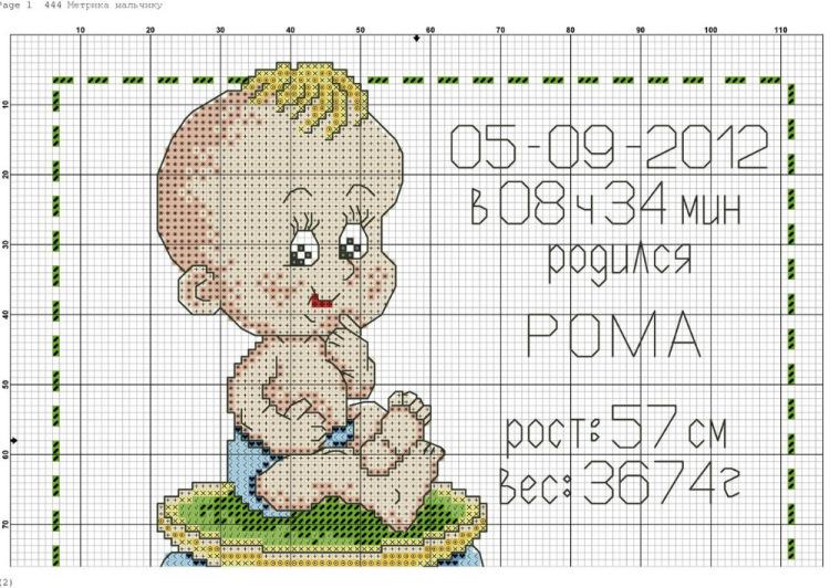 Схема вышивки метрика для детей