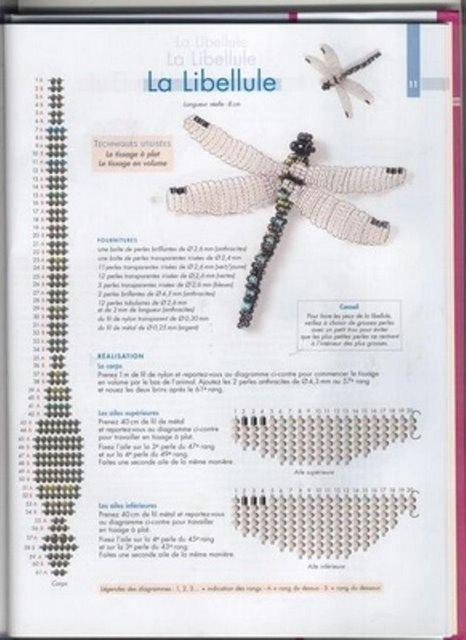 Стрекоза из бисера схема объёмная