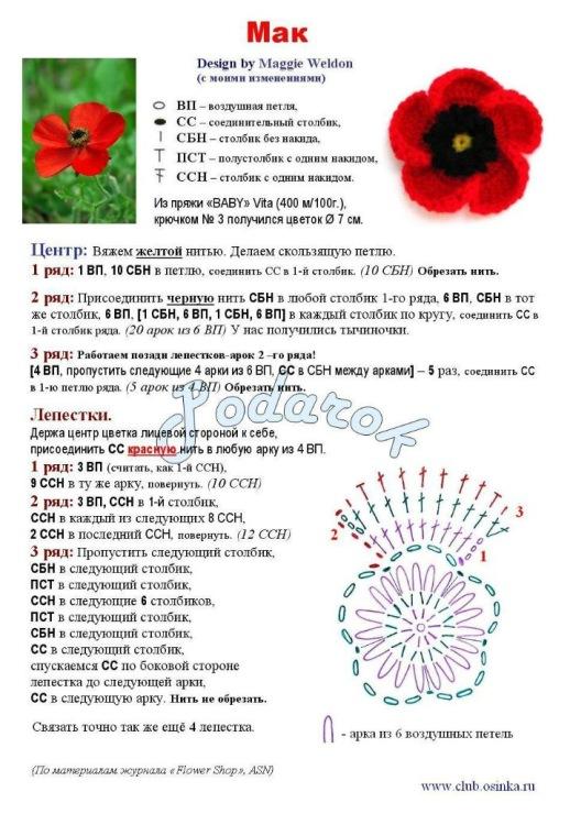 Схема вязания крючком цветы мастер класс